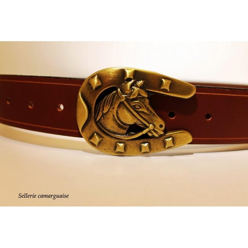 Ceinture cuir, Fer et tête de cheval